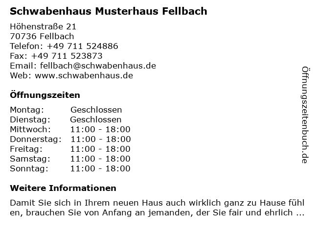 Schwabenhaus Musterhaus Fellbach in Fellbach: Adresse und Öffnungszeiten