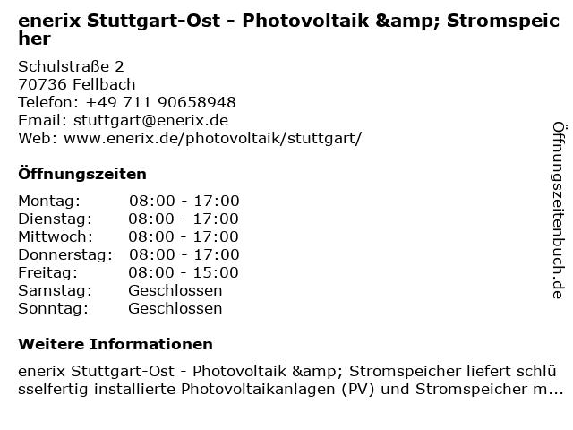 enerix Stuttgart-Ost - Photovoltaik & Stromspeicher in Fellbach: Adresse und Öffnungszeiten