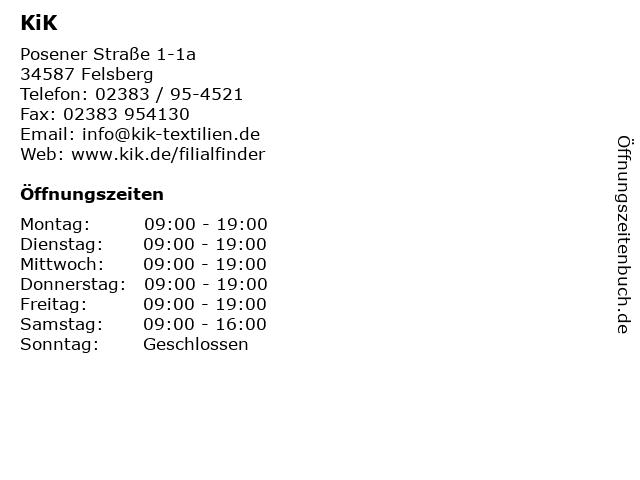 KiK in Felsberg: Adresse und Öffnungszeiten