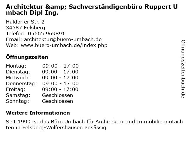 Ruppert Umbach - freier Architekt in Felsberg: Adresse und Öffnungszeiten