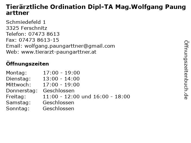 Tierärztliche Ordination Dipl-TA Mag.Wolfgang Paungarttner in Ferschnitz: Adresse und Öffnungszeiten