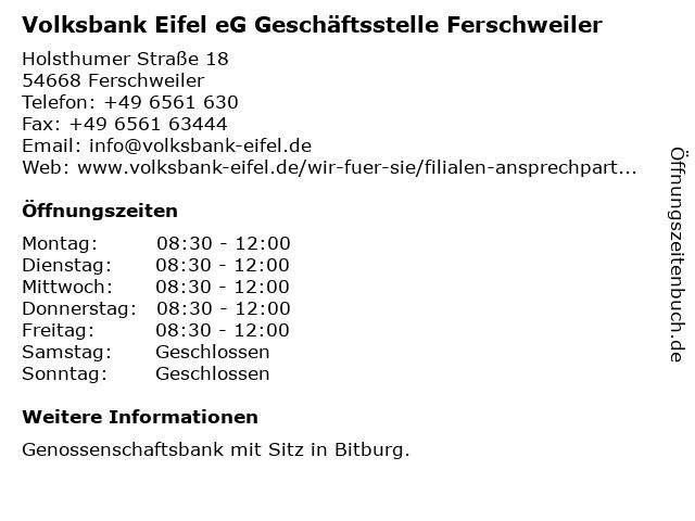 Raiffeisenbank Irrel eG, Filiale Ferschweiler in Ferschweiler: Adresse und Öffnungszeiten