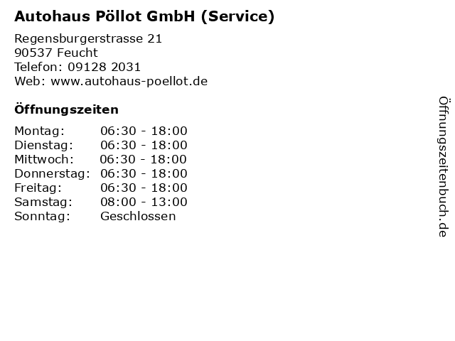 Autohaus Pöllot GmbH (Service) in Feucht: Adresse und Öffnungszeiten