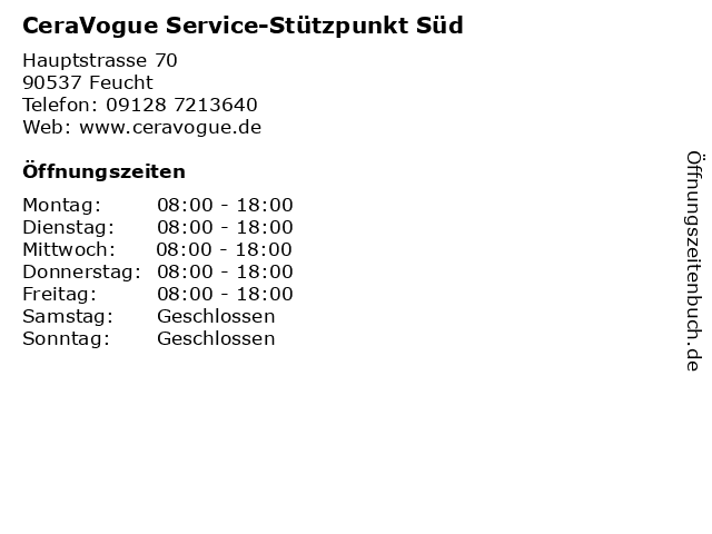 CeraVogue Service-Stützpunkt Süd in Feucht: Adresse und Öffnungszeiten
