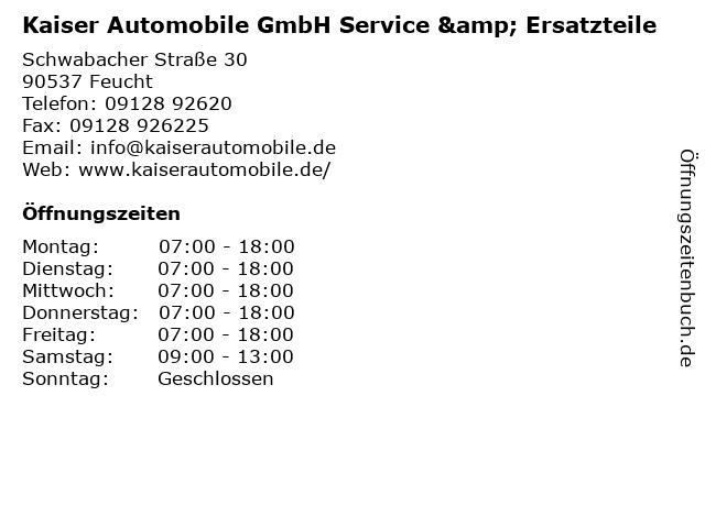 Kaiser Automobile GmbH Service & Ersatzteile in Feucht: Adresse und Öffnungszeiten