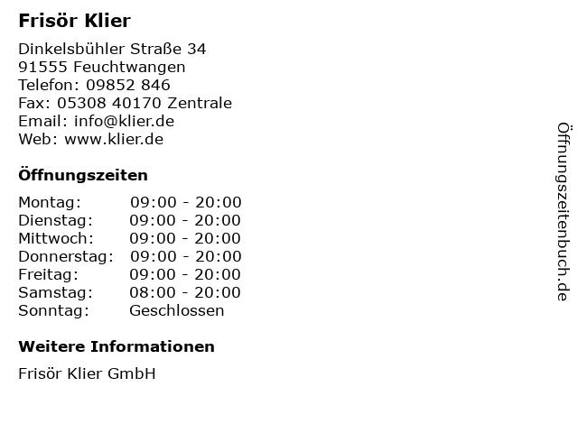 Frisör Klier GmbH in Feuchtwangen: Adresse und Öffnungszeiten