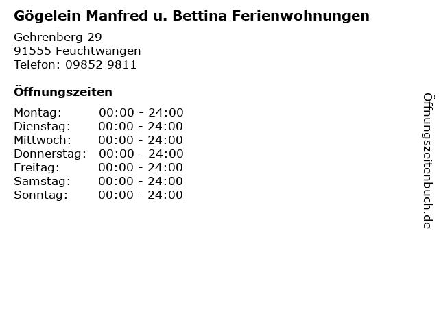 Gögelein Manfred u. Bettina Ferienwohnungen in Feuchtwangen: Adresse und Öffnungszeiten