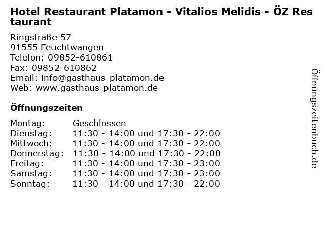 Hotel Restaurant Platamon - Vitalios Melidis - ÖZ Restaurant in Feuchtwangen: Adresse und Öffnungszeiten