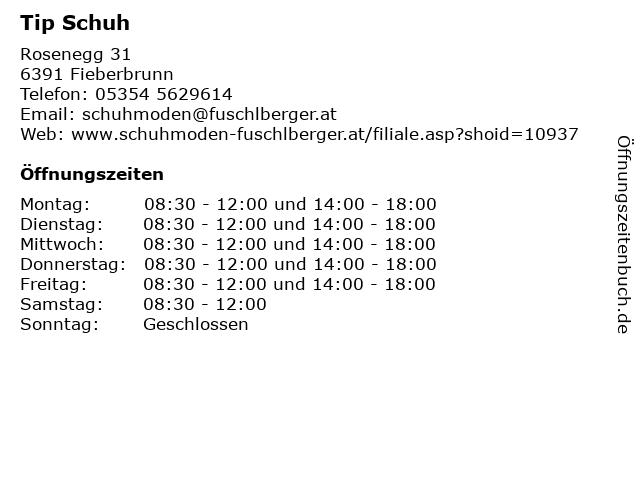 Tip Schuh in Fieberbrunn: Adresse und Öffnungszeiten
