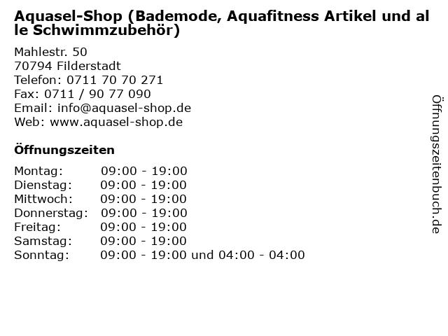 Aquasel-Shop (Bademode, Aquafitness Artikel und alle Schwimmzubehör) in Filderstadt: Adresse und Öffnungszeiten