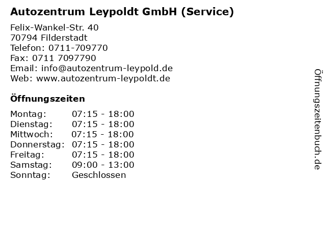 Autozentrum Leypoldt GmbH (Service) in Filderstadt: Adresse und Öffnungszeiten