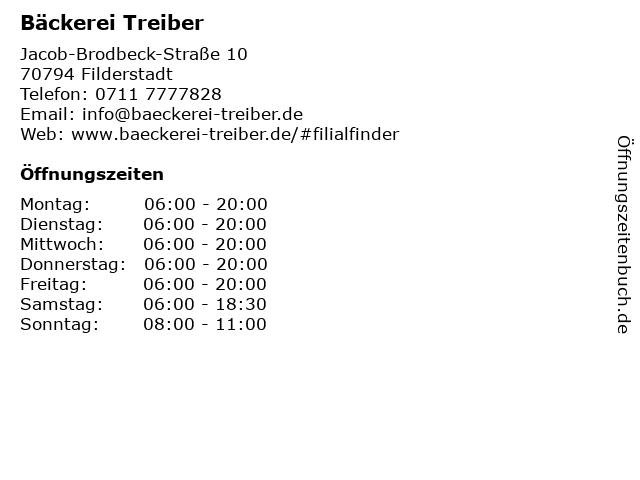 Bäckerei Treiber in Filderstadt: Adresse und Öffnungszeiten