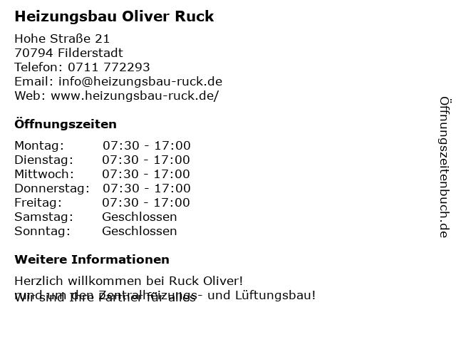 Heizungsbau Oliver Ruck in Filderstadt-Bonlanden: Adresse und Öffnungszeiten