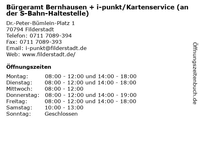 Bürgeramt Bernhausen + i-punkt/Kartenservice (an der S-Bahn-Haltestelle) in Filderstadt: Adresse und Öffnungszeiten