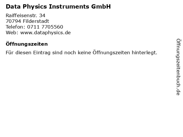 Data Physics Instruments GmbH in Filderstadt: Adresse und Öffnungszeiten