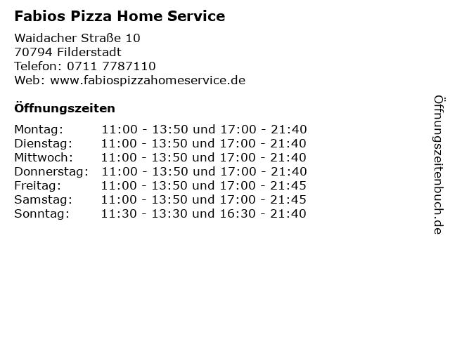 Fabios Pizza Home Service in Filderstadt: Adresse und Öffnungszeiten
