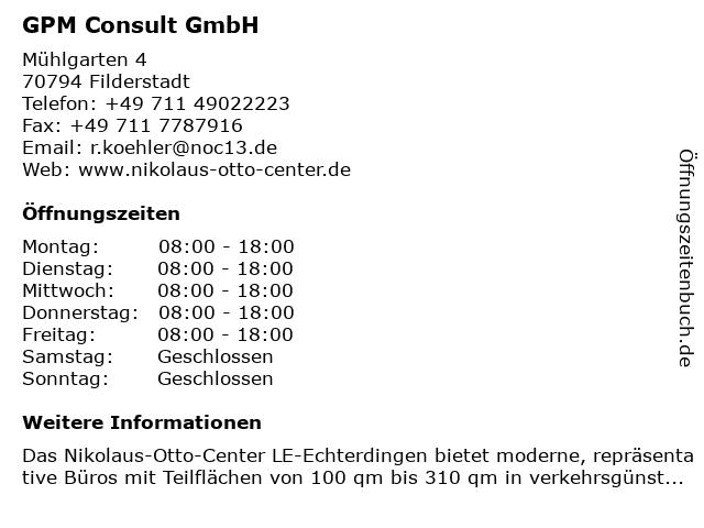 GPM Consult GmbH in Filderstadt: Adresse und Öffnungszeiten