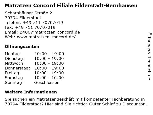 Matratzen Concord in Filderstadt: Adresse und Öffnungszeiten