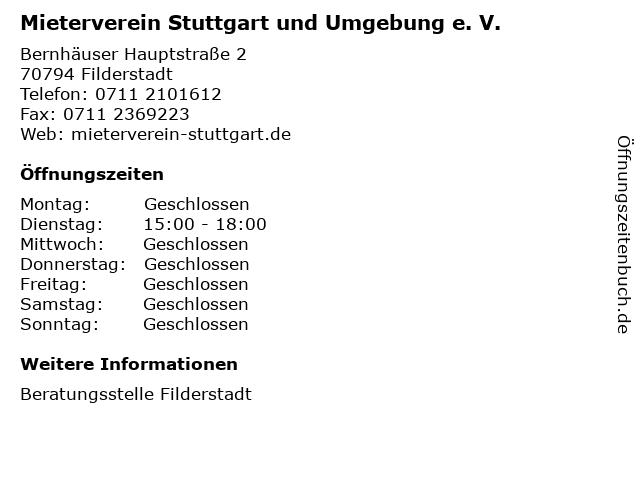 Mieterverein Stuttgart und Umgebung e. V. in Filderstadt: Adresse und Öffnungszeiten