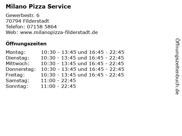 Milano Pizza Service in Filderstadt: Adresse und Öffnungszeiten