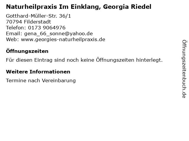 Naturheilpraxis Im Einklang, Georgia Riedel in Filderstadt: Adresse und Öffnungszeiten