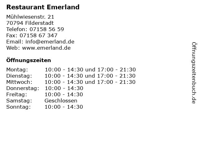 Restaurant Emerland in Filderstadt: Adresse und Öffnungszeiten