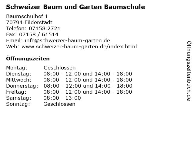 Schweizer Baum und Garten Baumschule in Filderstadt: Adresse und Öffnungszeiten
