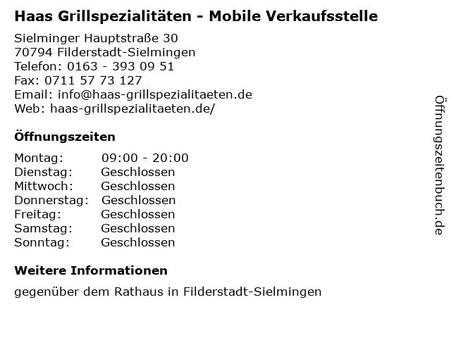 Haas Grillspezialitäten - Mobile Verkaufsstelle in Filderstadt-Sielmingen: Adresse und Öffnungszeiten