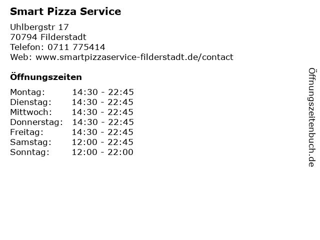 Smart Pizza Service in Filderstadt: Adresse und Öffnungszeiten