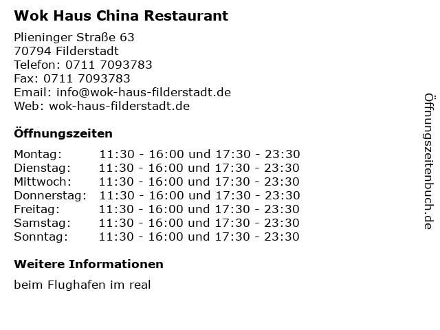 Wok Haus China Restaurant in Filderstadt: Adresse und Öffnungszeiten