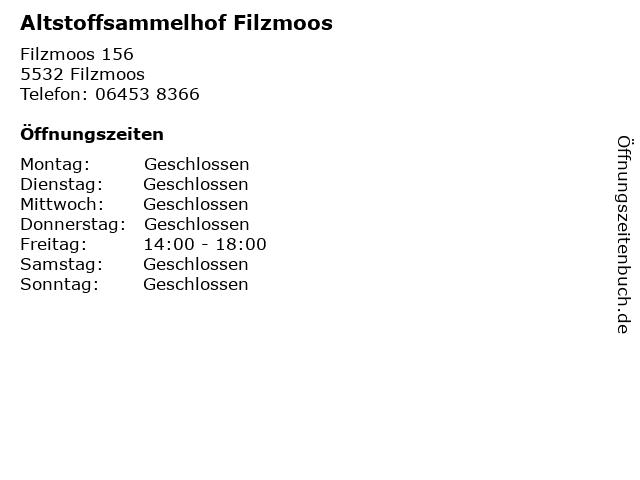 Altstoffsammelhof Filzmoos in Filzmoos: Adresse und Öffnungszeiten