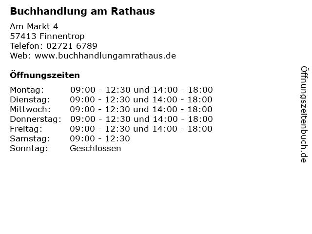 Buchhandlung am Rathaus in Finnentrop: Adresse und Öffnungszeiten