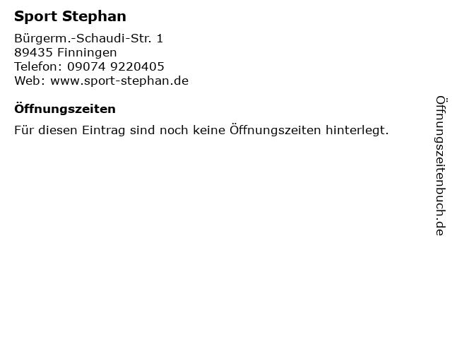 Sport Stephan in Finningen: Adresse und Öffnungszeiten