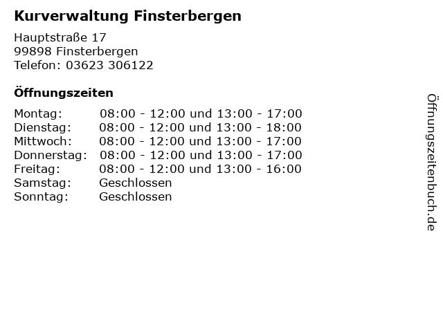 Kurverwaltung Finsterbergen in Finsterbergen: Adresse und Öffnungszeiten