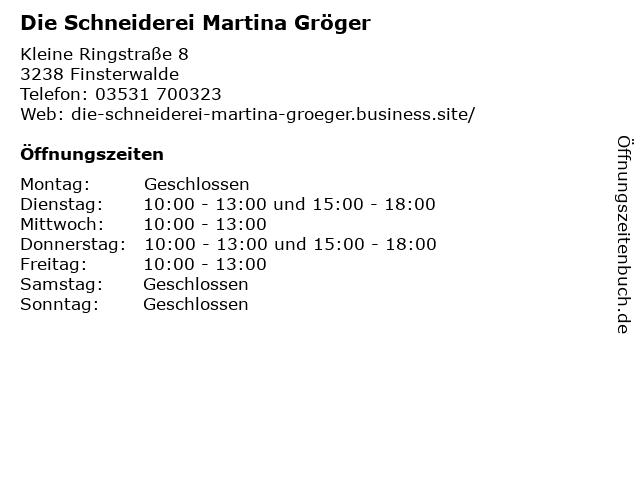 Die Schneiderei Martina Gröger in Finsterwalde: Adresse und Öffnungszeiten
