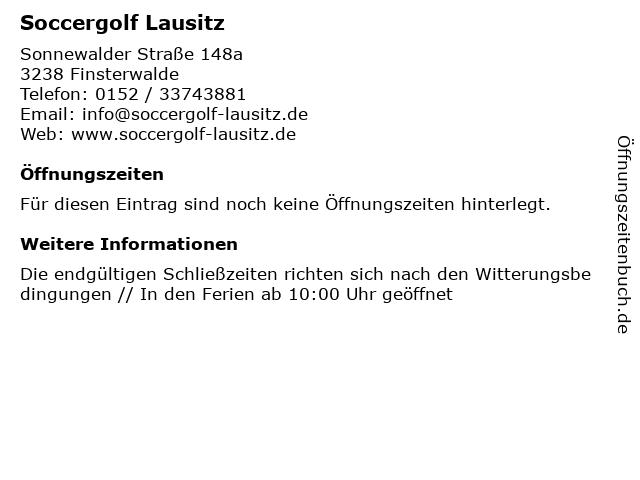 ᐅ Offnungszeiten Soccergolf Lausitz Sonnewalder Strasse