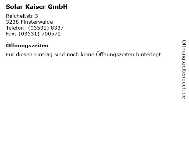 Solar Kaiser GmbH in Finsterwalde: Adresse und Öffnungszeiten