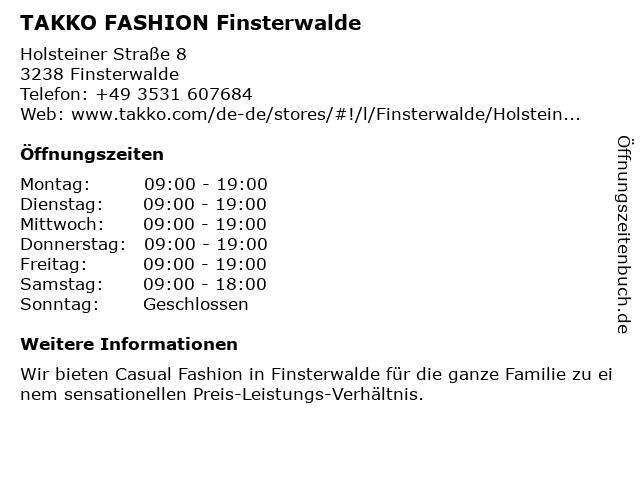 Takko Fashion in Finsterwalde: Adresse und Öffnungszeiten