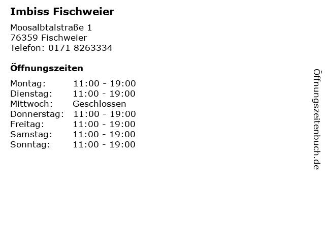 Imbiss Fischweier in Fischweier: Adresse und Öffnungszeiten