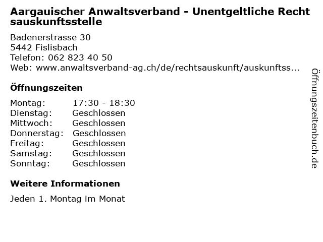 Aargauischer Anwaltsverband - Unentgeltliche Rechtsauskunftsstelle in Fislisbach: Adresse und Öffnungszeiten