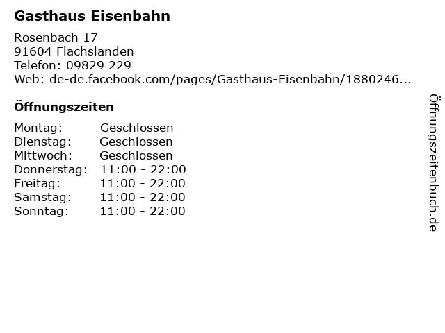 Gasthaus Eisenbahn in Flachslanden: Adresse und Öffnungszeiten