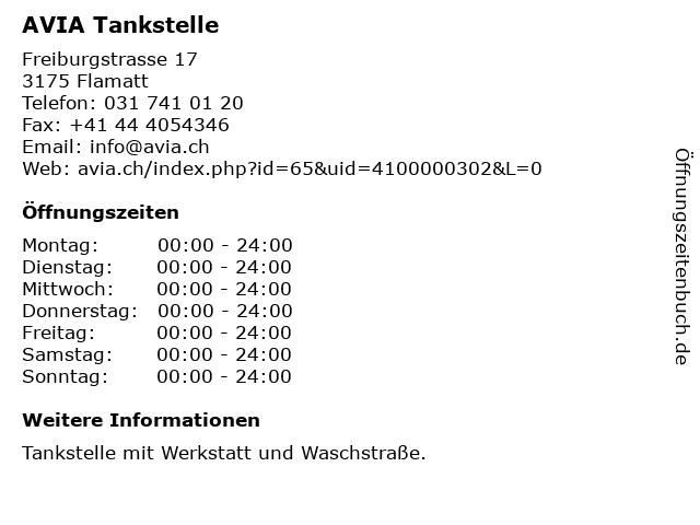 AVIA Tankstelle in Flamatt: Adresse und Öffnungszeiten