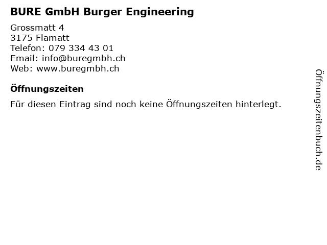 BURE GmbH Burger Engineering in Flamatt: Adresse und Öffnungszeiten