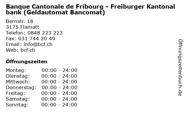 Banque Cantonale de Fribourg - Freiburger Kantonalbank (Geldautomat Bancomat) in Flamatt: Adresse und Öffnungszeiten