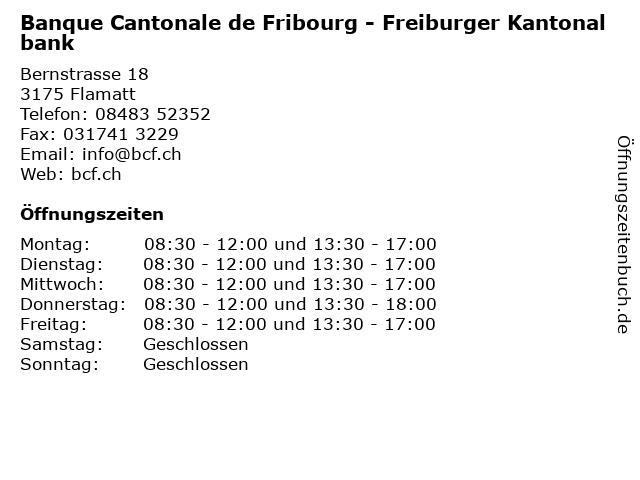 Banque Cantonale de Fribourg - Freiburger Kantonalbank in Flamatt: Adresse und Öffnungszeiten
