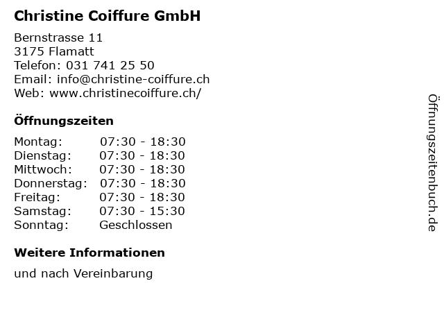 Christine Coiffure GmbH in Flamatt: Adresse und Öffnungszeiten