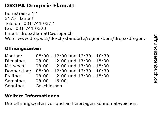 DROPA Drogerie Flamatt in Flamatt: Adresse und Öffnungszeiten