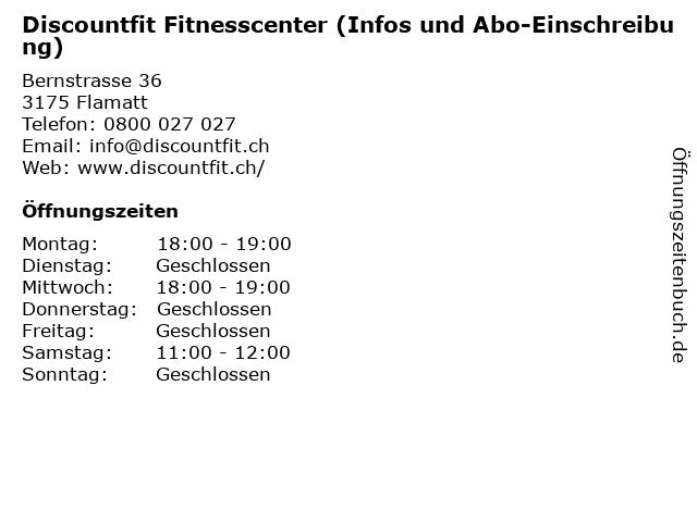 Discountfit Fitnesscenter (Infos und Abo-Einschreibung) in Flamatt: Adresse und Öffnungszeiten