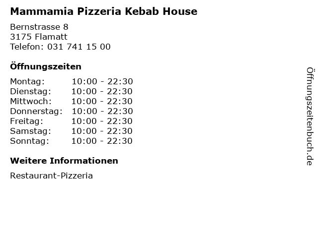 Mammamia Pizzeria Kebab House in Flamatt: Adresse und Öffnungszeiten