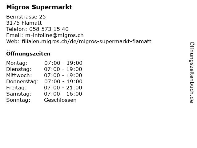 Migros Supermarkt in Flamatt: Adresse und Öffnungszeiten